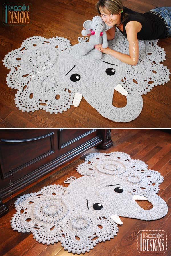 Crochet Elephant Rug. Look This Cute! I'm so into it.