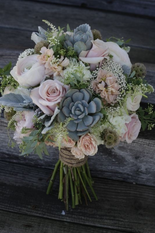 A Shabby Chic Bridal Bouquet Featuring Succulents, Dusty Pink Roses And Peonies.