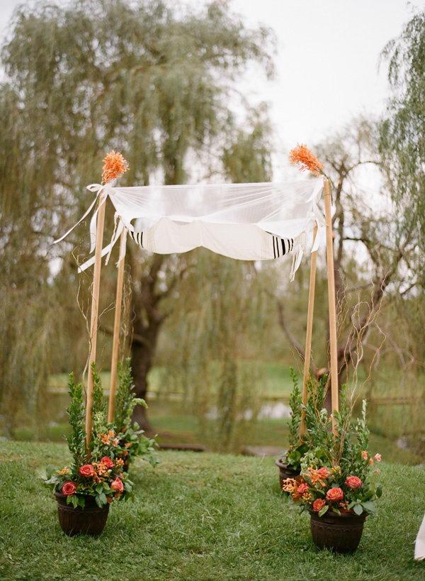 Potted Flowers Wedding Chuppah.