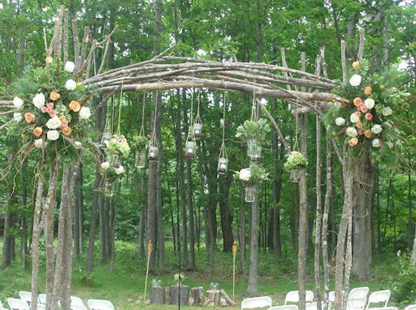 Mason Jars Wedding Arch.
