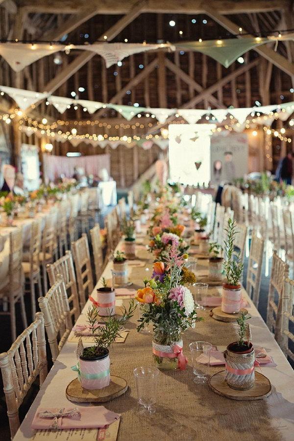 Rustic Wedding Reception Inside The Barn.