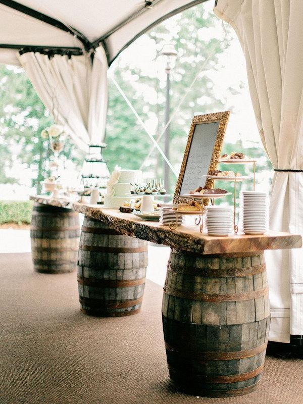 Wine Barrel Dessert Table.
