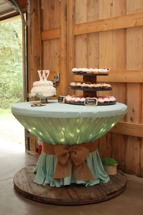 Rustic Wedding Ideas Lights Under Tablecloth.