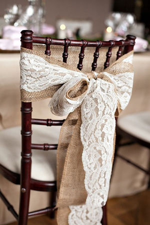 Decorate The Chairs With Burlap And Lace.