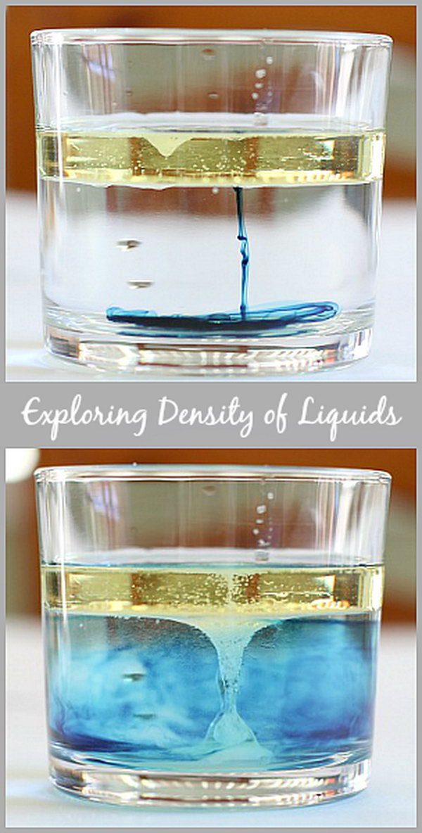 Cool Science Experiments: A super fun way for kids to explore the density of liquids just with a few household material in your kitchen! All you need is clear glass,water, vegetable oil, food coloring, salt. Tutorial via