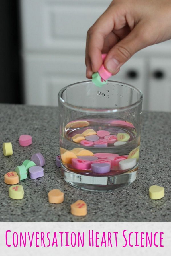 Conversation Heart Candy Science Experiments.