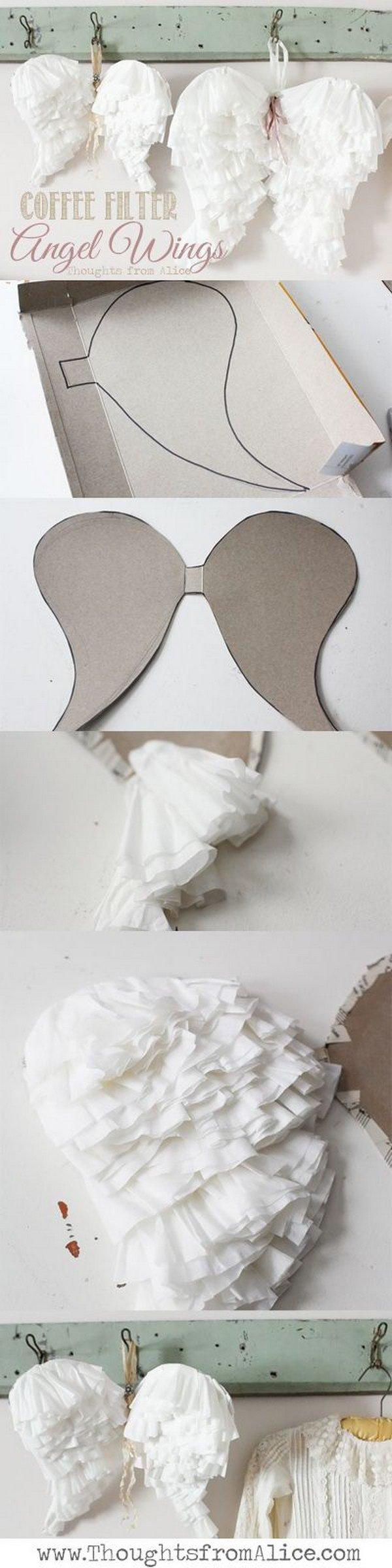 DIY Coffee Filter Angel Wings.