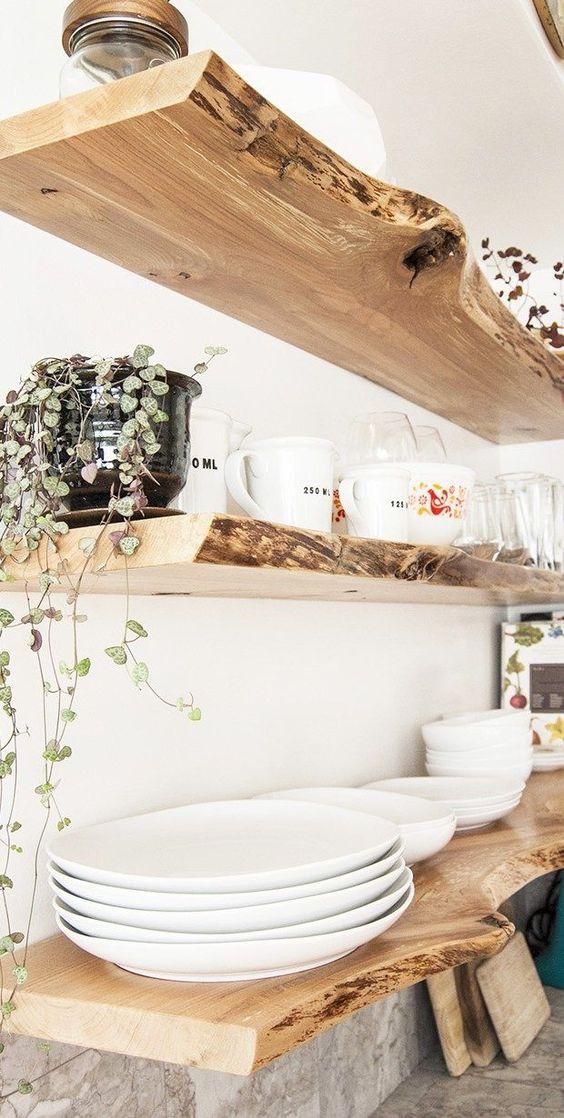 Floating Live-Edge Wood Shelves.