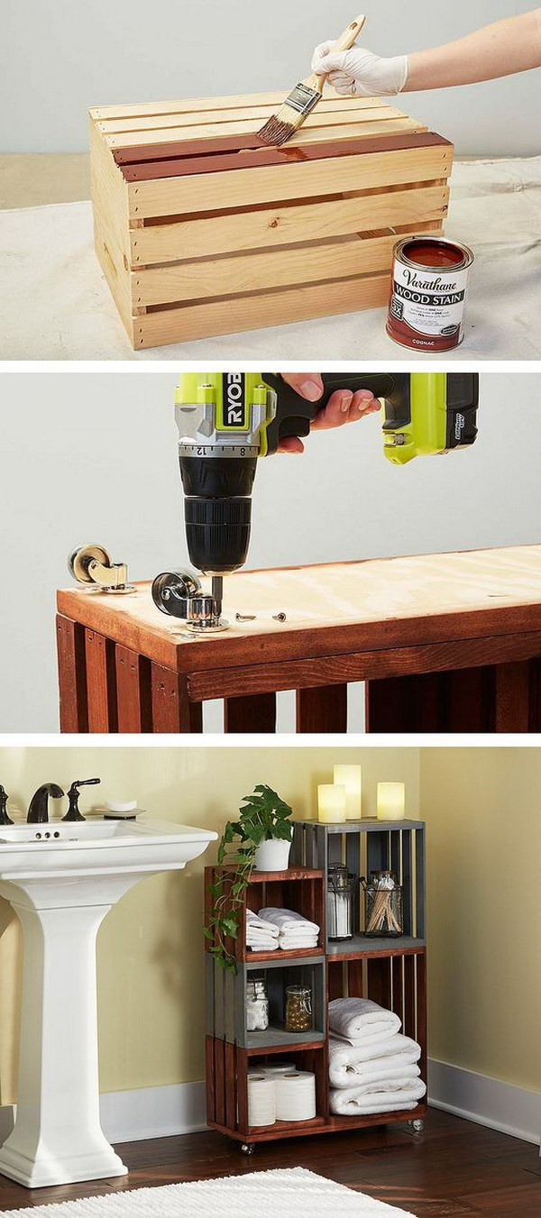 DIY Bathroom Storage Shelves Made From Wooden Crates.