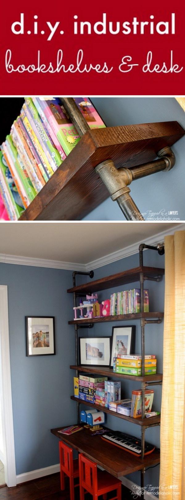 DIY Industrial Pipe Shelves and Desk.