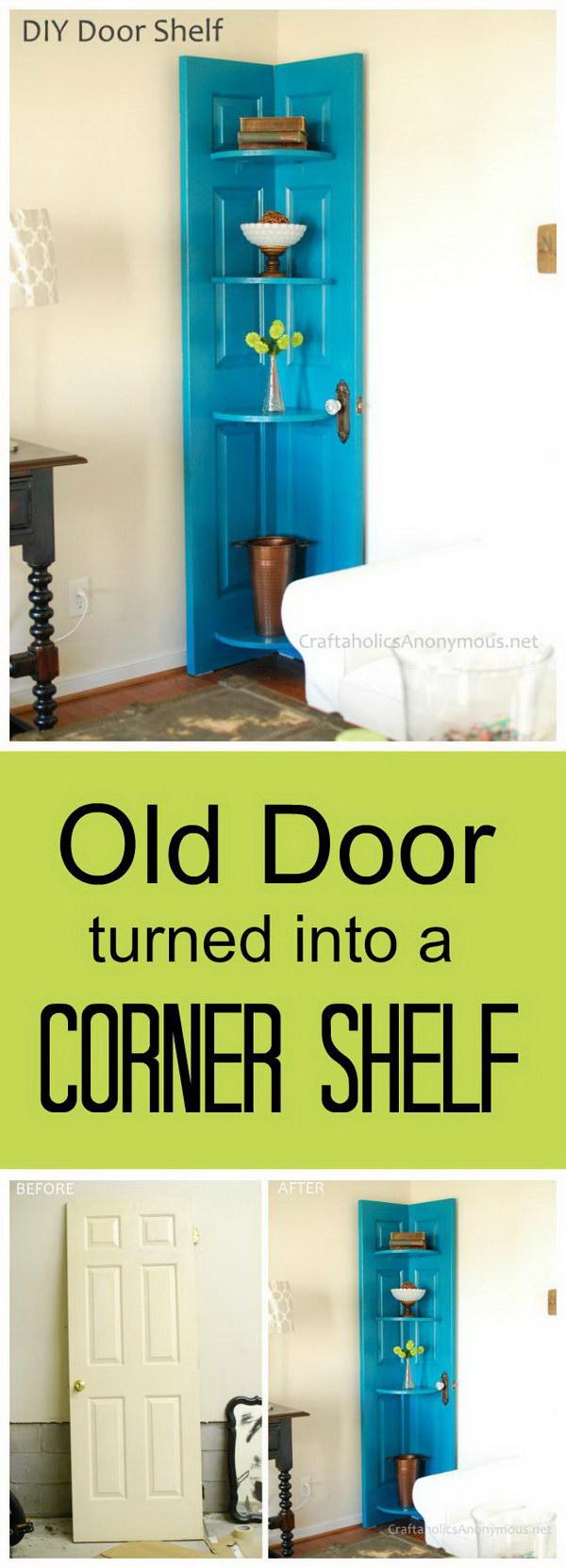 DIY Corner Door Shelf.