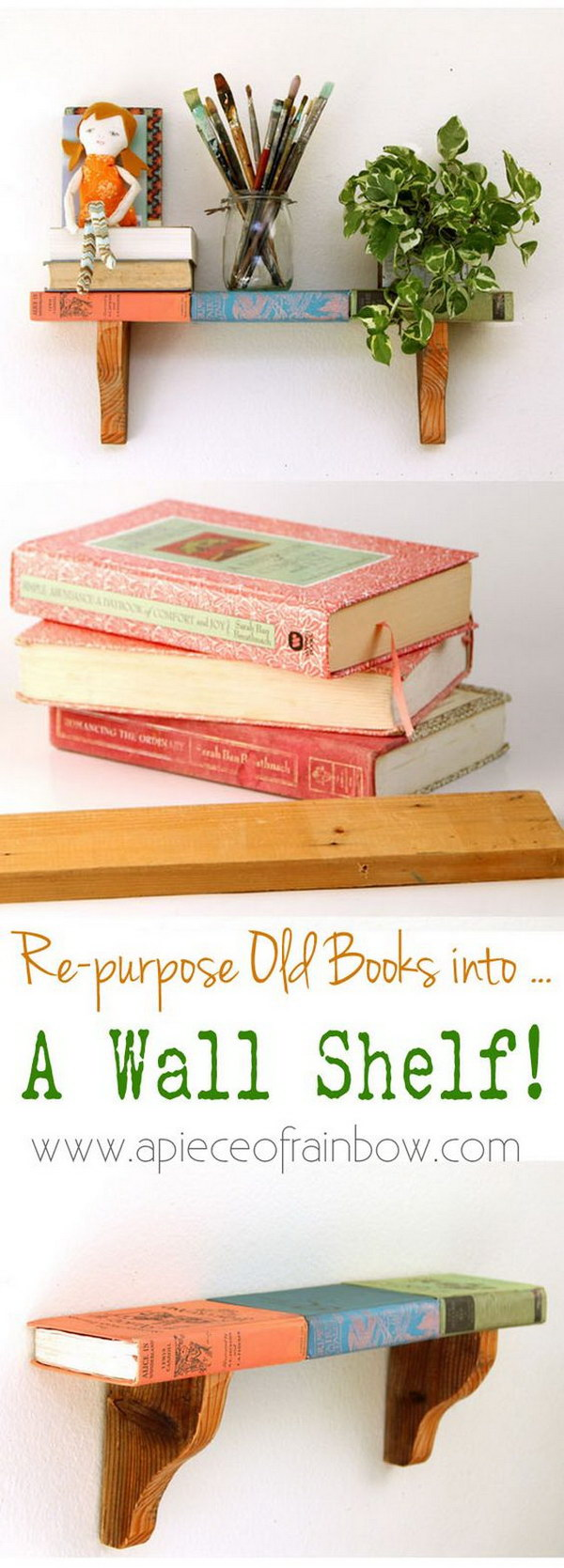 Wall Shelf From Faux Vintage Books.