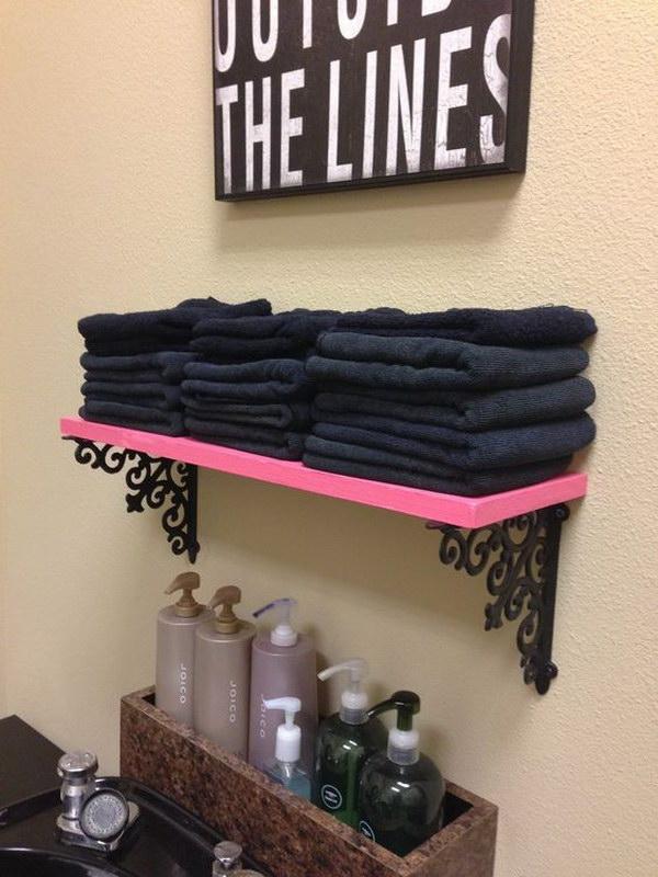 Pink Shelves and Hobby Lobby Brackets.