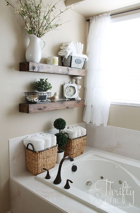DIY Floating Shelves for Bathroom.