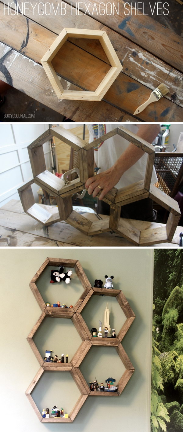 DIY Honeycomb Hexagon Shelves.