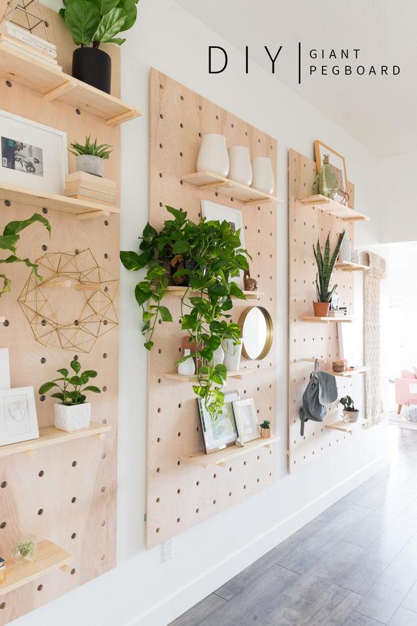 DIY Shelves on Giant Pegboard.