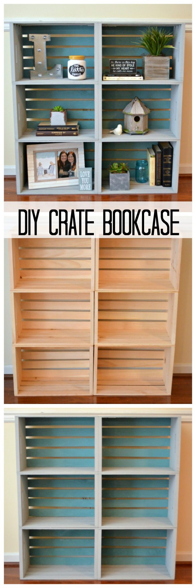Super Easy Bookcase Made From Wood Crates.