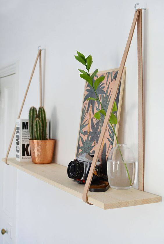 DIY Easy Leather Strap Shelf.
