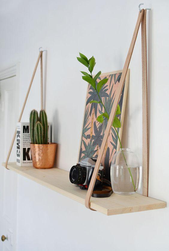 DIY Easy Leather Strap Shelf.