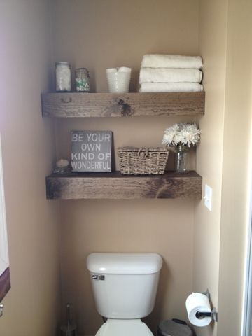 DIY Floating Shelves for Small Bathroom.