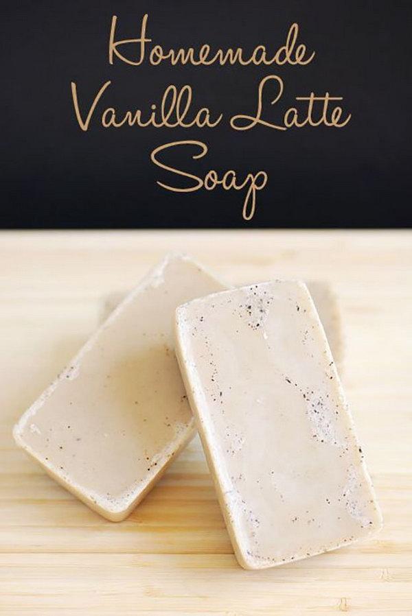 Homemade Vanilla Latte Soap. This easy DIY soap has great skin benefits. Tutorial via