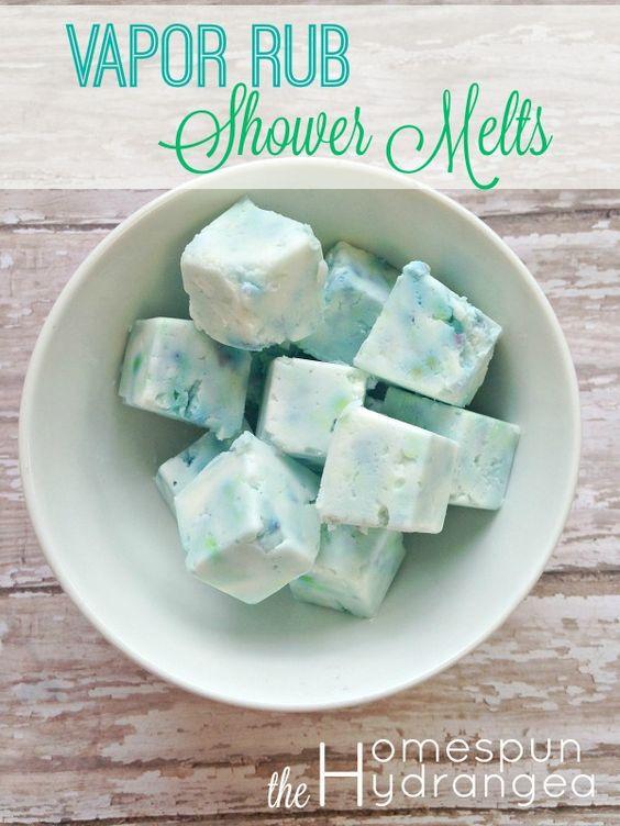 Homemade Vapor Rub Shower Cubes.