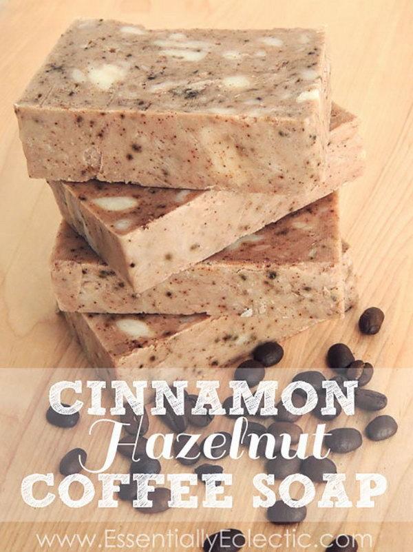 DIY Cinnamon Hazelnut Coffee Soap. This DIY soap smells amazing!