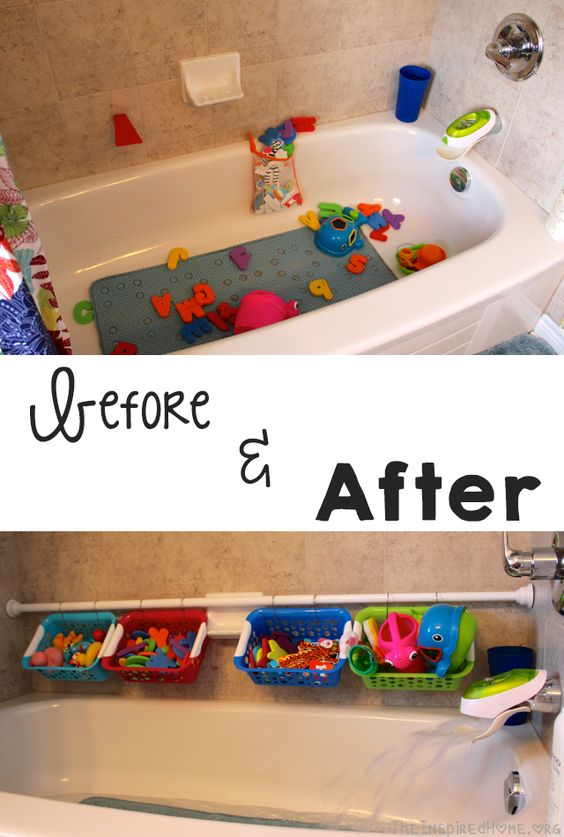 Use a Tension Shower Rod And Plastic Baskets to Organize All The Bath Toys.