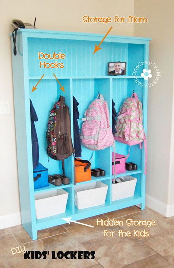DIY Storage Lockers For Kids