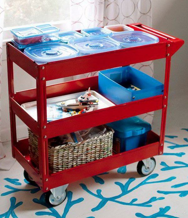 Use A Three Shelf Steel Service Cart To Store Toys And Craft Projects In Progress.