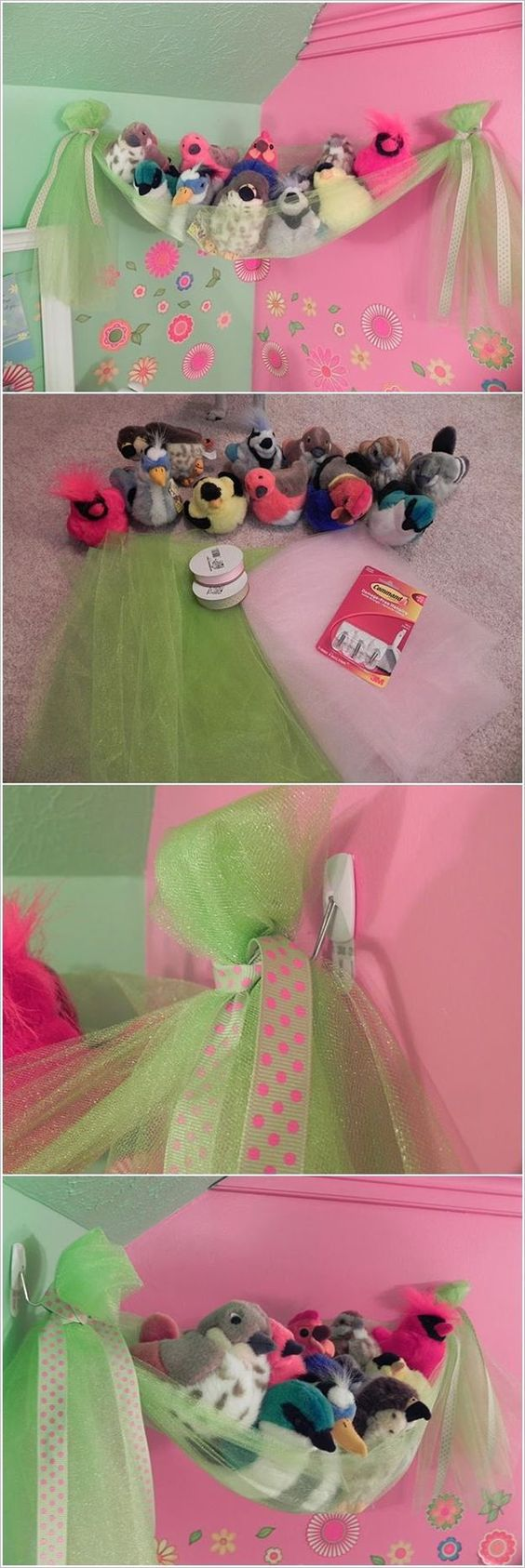 This Fancy Bird's Nest is a Super Easy Stuffed Toy Storage for Girls' Room.
