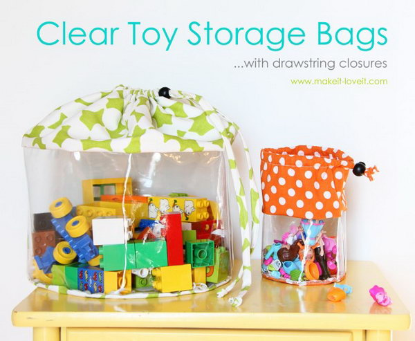 DIY Clear Toy Storage Bags. You can the turorial