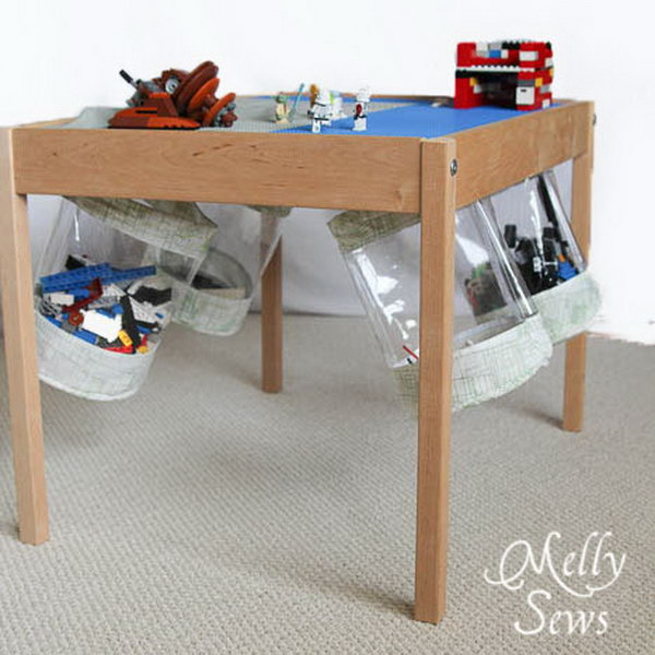 Hold The Fabric Storage Bucket Under The Table For Easy Clean Up.