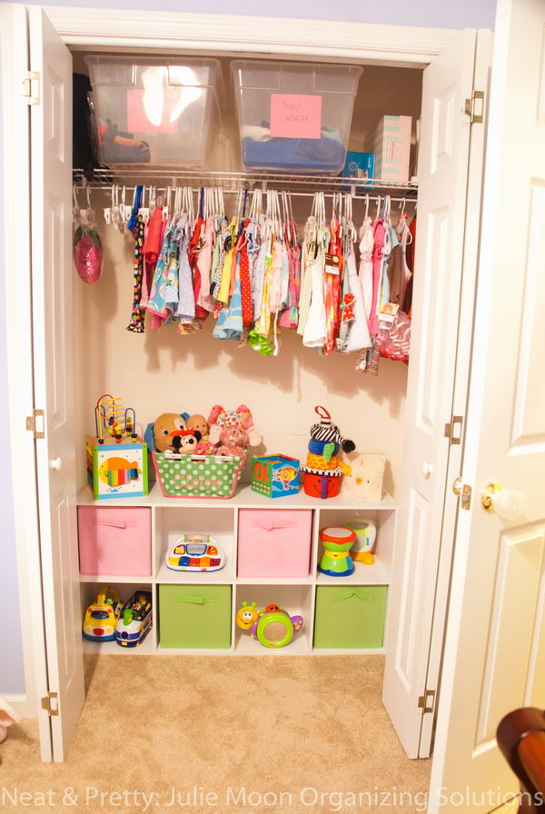 Turn The Bottom Of a Closet Into a Toy Storage Area.