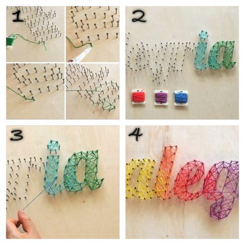 Cute Rainbow Letters Made With Nails And Strings.