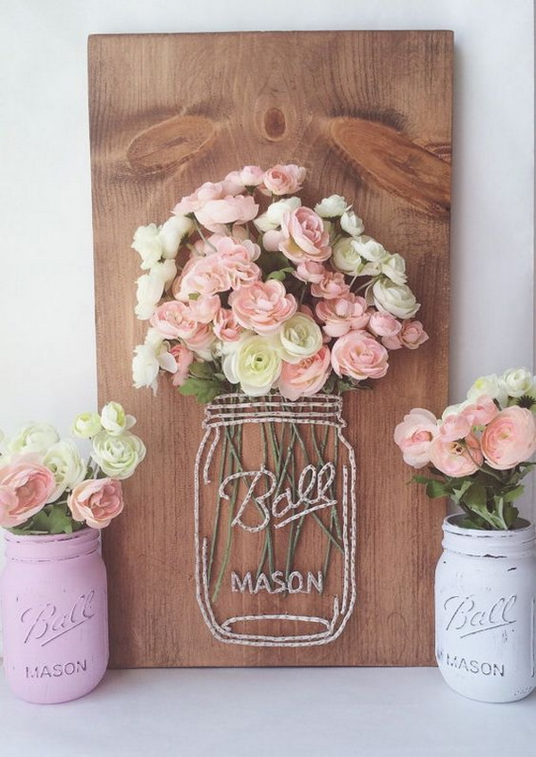 String Art Patterns Part - 36: Mason Jar String Art With Faux Flowers