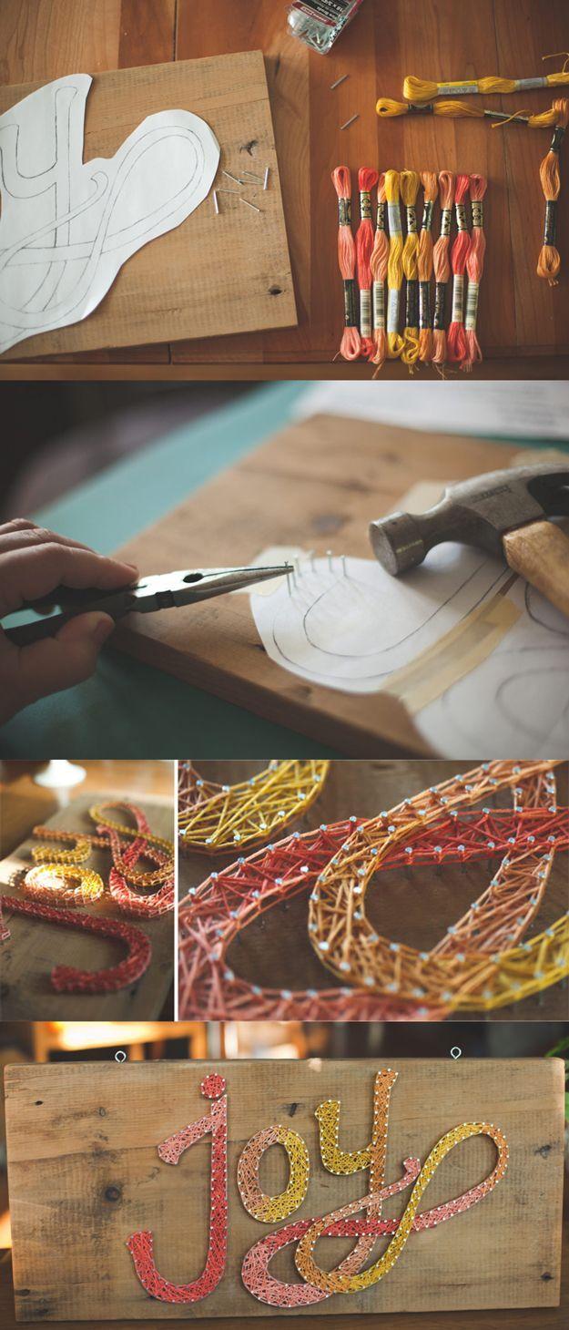 DIY Joy String Art. Get the tutorial