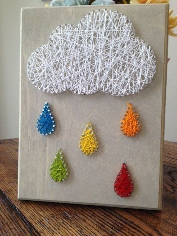 35 diy string art ideas tutorials for your home decoration 2017 rain cloud nail and string art prinsesfo Images
