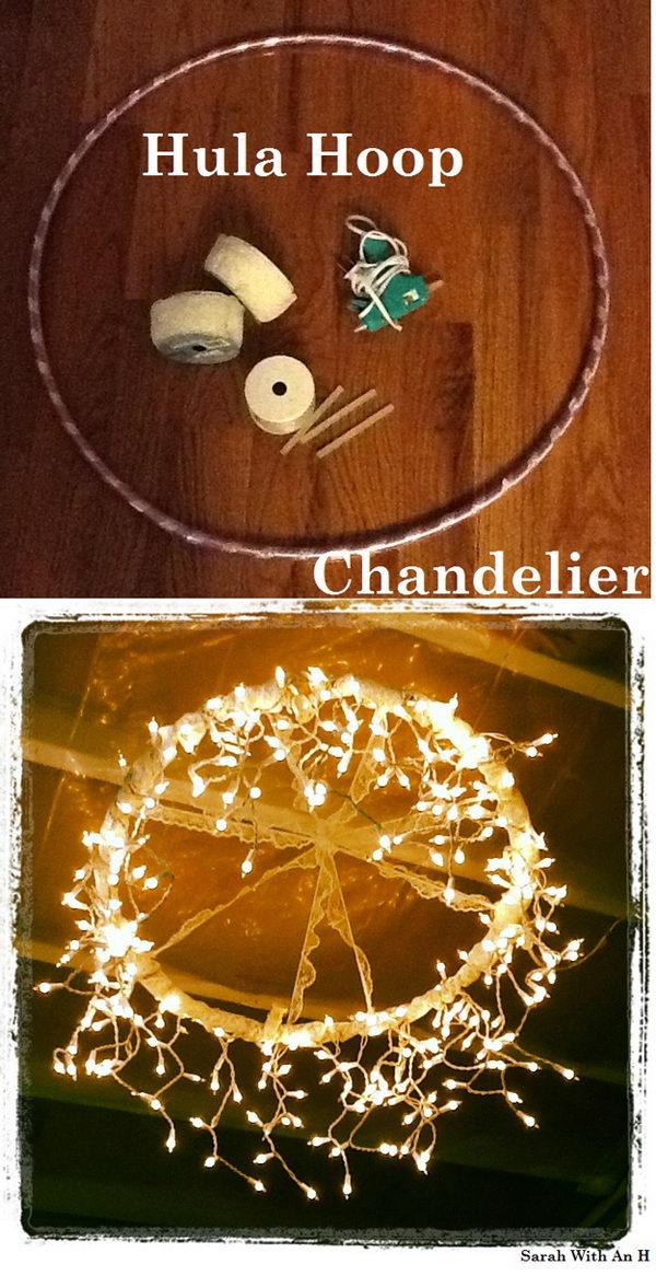 Hula Hoop String Lights Chandelier.