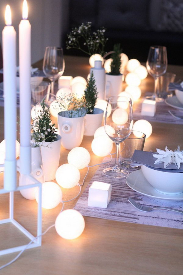 String Lights on Your Party Table.
