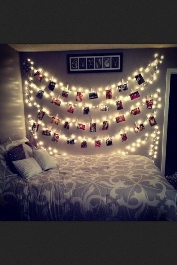 Bedroom Photo Wall with Fairy Lights .