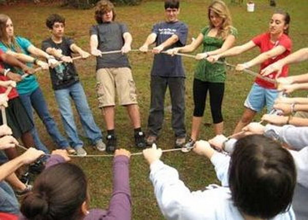 Geometry Outdoor Teamwork Game.