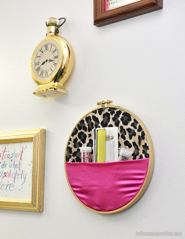 No Sew Embroidery Hoop Wall Organizer