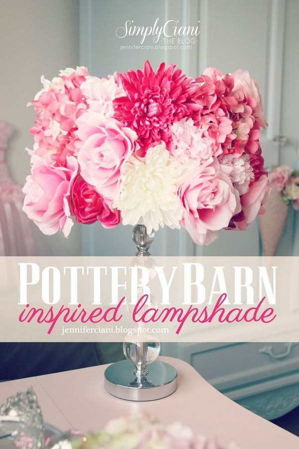DIY Silk Flowers Potterybarn Inspired Lamp Shade.
