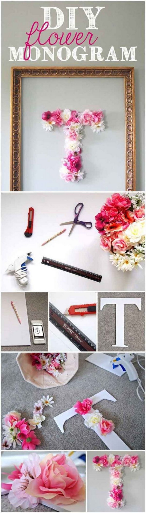 DIY Faux Flower Monogram