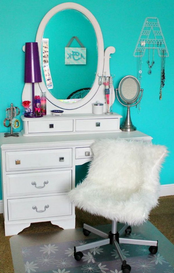 DIY Pottery Barn Inspired Furry Desk Chair