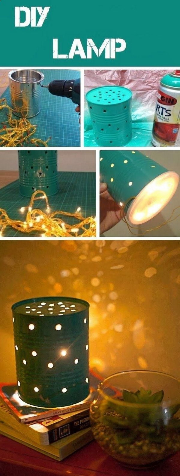 Recycled Old Tin Canisters Lamp
