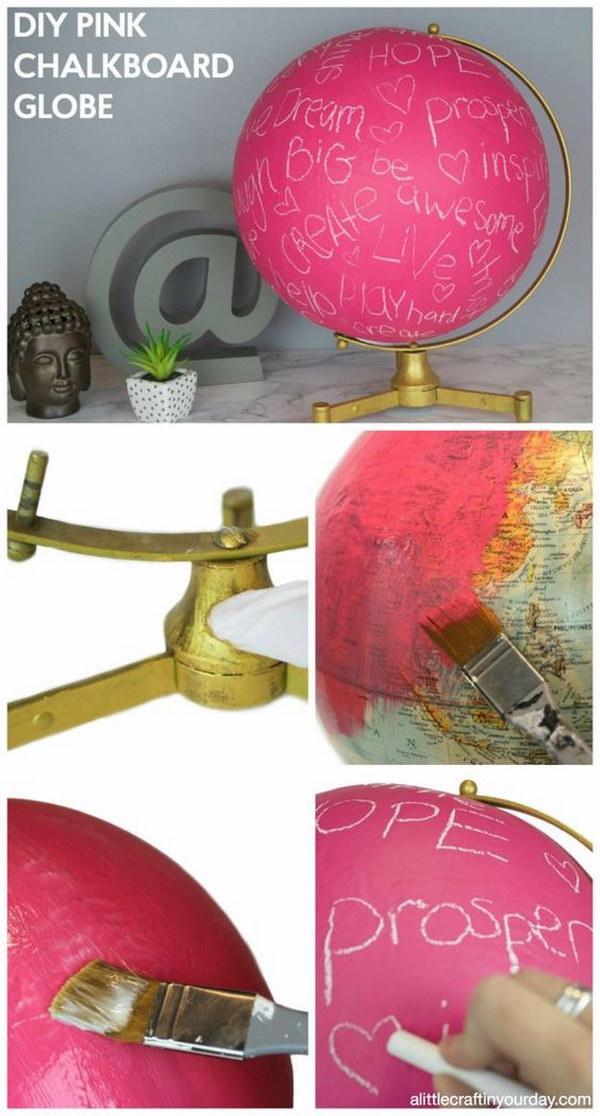 DIY Pink Chalkboard Globe