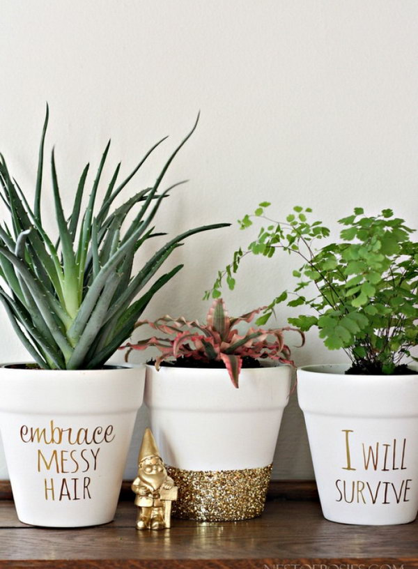 Gold Foil Lettering Pots. See how