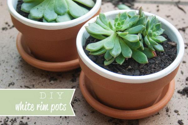DIY White Rim Pots. See more